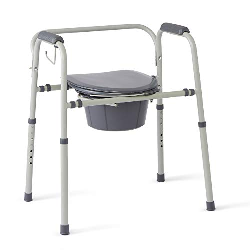 Medline - MDS89664KDMBG Steel 3-in-1 Bedside Commode, Portable Toilet with Microban Antimicrobial Protection, Can be Used as Raised Toilet Seat Riser, Gray