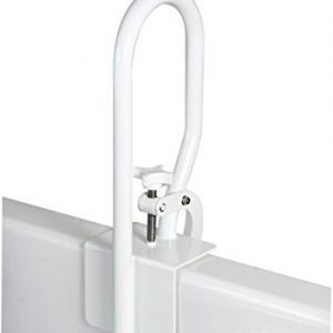 Carex White Bathtub Rail - Grab Bars for Bathroom, Bathtubs & Showers - Side Hand Grip Railing & Support - Shower Handle & Bath Tub Bar Clamps for Seniors & Elderly