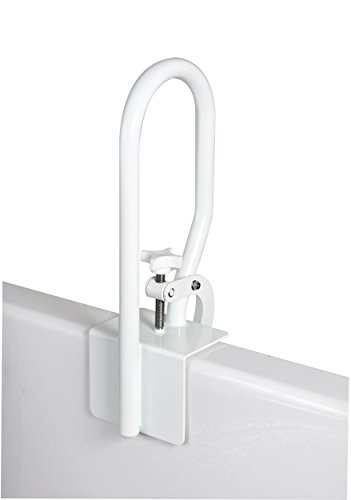 Carex White Bathtub Rail - Grab Bars for Bathroom, Bathtubs & Showers - Side Hand Grip Railing & Support - Shower Handle & Bath Tub Bar Clamps for Seniors & Elderly