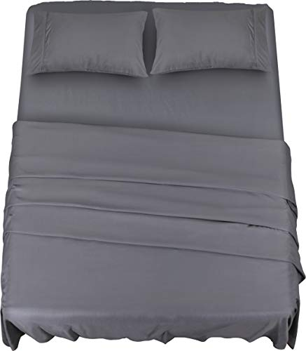 Utopia Bedding Bed Sheet Set - 4 Piece Queen Bedding - Soft Brushed Microfiber Fabric - Shrinkage & Fade Resistant - Easy Care (Queen, Grey)