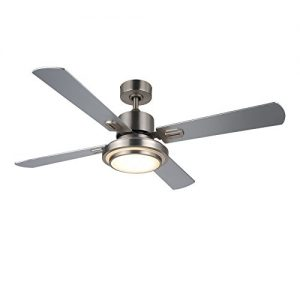 CO-Z 52-inch Ceiling Fan Light Brushed Nickel Finish with Four Silver/Walnut, Double Side Fan Blades, 15W LED & Remote Included, UL Certificate