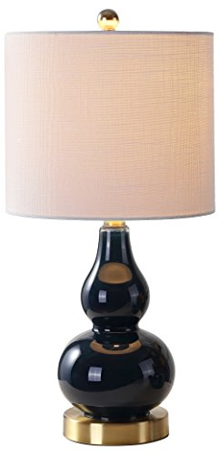 """JONATHAN Y JYL1028F Anya 20.5"""" Mini Glass LED Lamp Transitional,Glam,Midcentury for Bedroom, Living Room, Office, College Dorm, Coffee Table, Bookcase, Navy"""