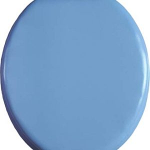 J&V Textiles Soft Round Toilet Seat With Easy Clean & Change Hinge, Padded (Light Blue)