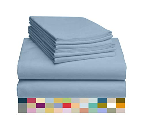 """LuxClub 6 PC Sheet Set Bamboo Sheets Deep Pockets 18"""" Eco Friendly Wrinkle Free Sheets Hypoallergenic Anti-Bacteria Machine Washable Hotel Bedding Silky Soft - Sky Queen"""