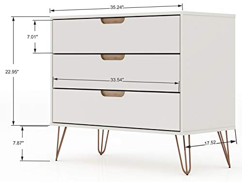 Manhattan Comfort Rockefeller Mid-Century Modern 3 Drawer Bedroom Dresser Bundle Dimensions: 35.2 x 17.5 x 28.9 inches