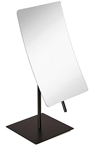 5X Magnified Premium Modern Rectangle Vanity Makeup Mirror 100% Guarantee | Portable Matte Black Contemporary Finish | Adjustable Easy Positioning | Best Luxury Quality Magnifying Beauty Mirror