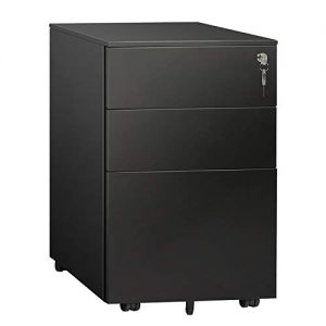 DEVAISE 3 Drawer Locking File Cabinet, Under Desk Metal Filing Cabinet for Legal/Letter/A4 File, Fully Assembled Except Wheels, Black