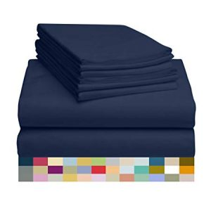 """LuxClub 6 PC Sheet Set Bamboo Sheets Deep Pockets 18"""" Eco Friendly Wrinkle Free Sheets Hypoallergenic Anti-Bacteria Machine Washable Hotel Bedding Silky Soft - Navy Queen"""