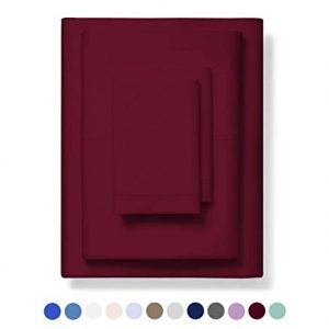 800-Thread-Count Best 100% Egyptian Cotton Bed Sheet Set - Burgundy Extra Long-staple Cotton QUEEN Sheet For Bed, Fits Mattress 16'' Breathable & Sateen Weave 4-Piece Sheets and Pillowcases Set