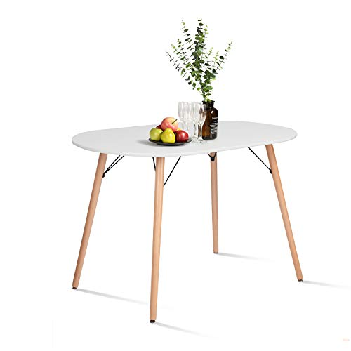 HOMY CASA Farmhouse Dining Table Mid-Century Kitchen Table with Wood Tube Oval Top for Home Office Patio White(Only Table not Include Chairs)