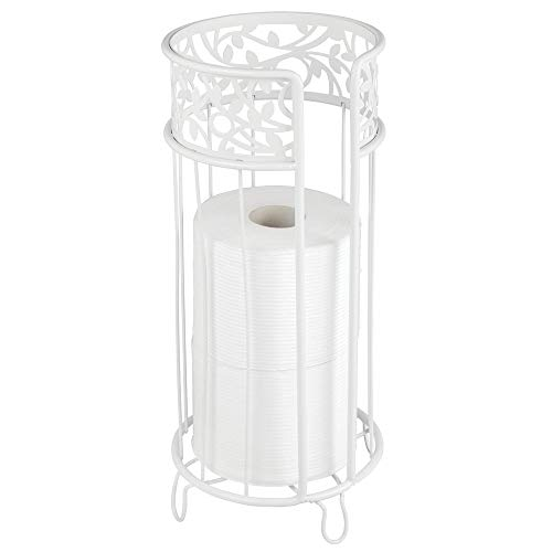 mDesign Decorative Free Standing Toilet Paper Holder Stand with Storage for 3 Rolls of Toilet Tissue - for Bathroom/Powder Room - Holds Mega Rolls - Durable Metal Wire - White