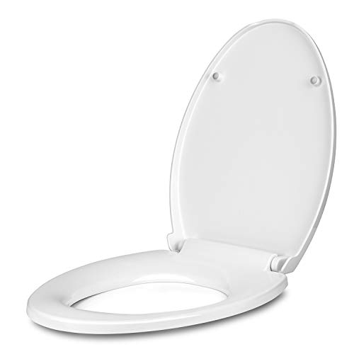 Amzdeal Elongated Toilet Seat with lid, Slow Close, Quick Release, Easy Installation/Removal, Durable Toilet Seat with Cover, Plastic, White