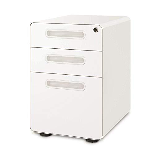 DEVAISE 3-Drawer Mobile File Cabinet with Anti-tilt Mechanism, Legal/Letter Size, White