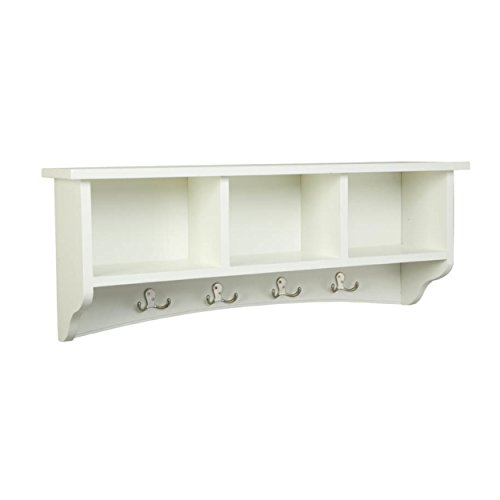 Shaker Cottage Wall Mounted Coat Hooks with 3 Cubbies, Ivory