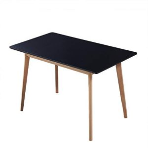 GreenForest Dining Table Rectangular Top with Solid Wood Legs for Kitchen Dining Room 47.2'' x 27.6''x 30'',Black