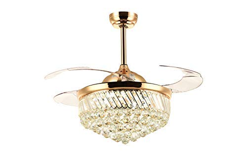 """SILJOY Dimmable Ceiling Fan with Lights Retractable Blades Invisible Crystal Chandelier Fan Led Ceiling Light Kit for Bedroom Living room Gold 36"""""""