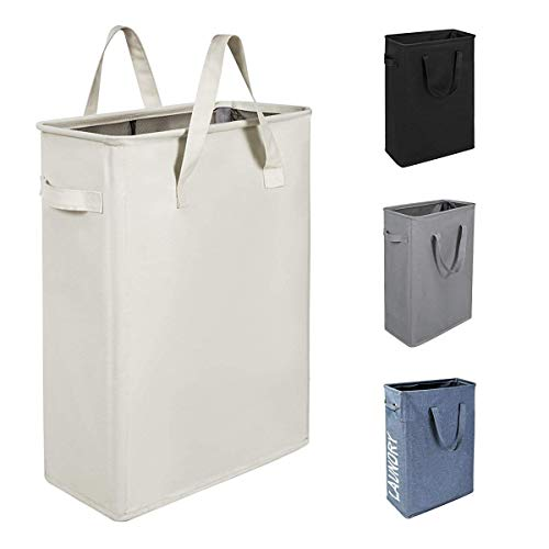 Chrislley 45L Slim Laundry Hamper Collapsible Laundry Basket Thin Narrow Laundry Hampers with Handles Dirty Slim Hamper for Laundry(Slim 21 Inches, Beige)