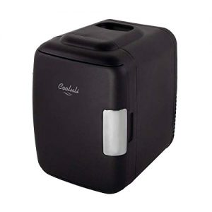 Cooluli Classic Black 4 Liter Compact Cooler Warmer Mini Fridge with AC/DC/USB Power - Great for Bedroom, Office, Car, Dorm - Portable Makeup Skincare Fridge