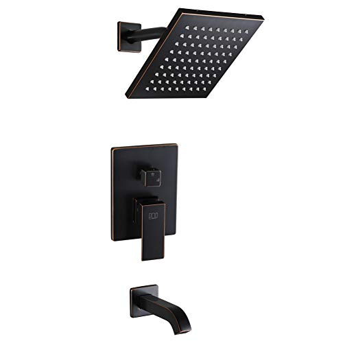 POP Shower Faucet Set with Tub Spout Oil Rubbed Bronze Bathroom Luxury Rain Mixer Shower System Wall Mounted Rainfall Shower Combo Set, Single Function Tub and Shower Trim Kit with Rough-in Valve