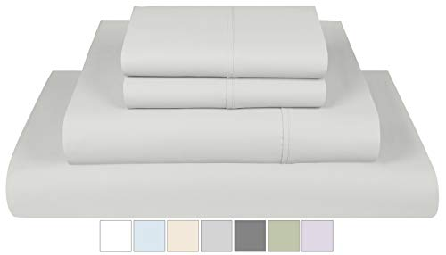 Threadmill Home Linen 400 Thread Count 100% Extra-Long Staple Cotton Sheet Set, Full Sheets, Luxury Bedding Super Sale, Full Sheets 4 Piece Set, Smooth Sateen Weave,Silver