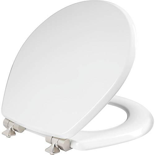 MAYFAIR 26NISL 000 Benton Toilet Seat with Brushed Nickel Hinges will Slow Close and Never Come Loose, ROUND, Durable Enameled Wood, White