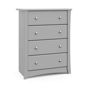 Storkcraft Crescent 4 Drawer Dresser, Pebble Gray, Kids Bedroom Dresser with 4 Drawers, Wood and Composite Construction, Ideal for Nursery Toddlers Room Kids Room