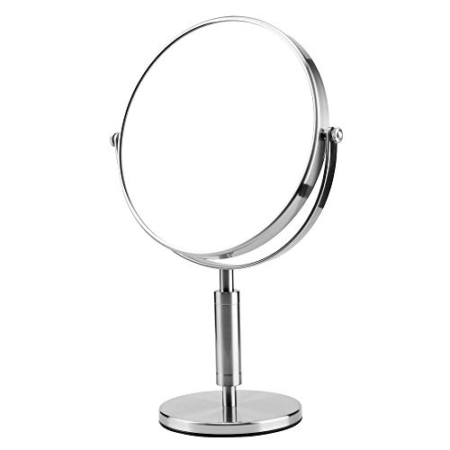 Superstar 8 Inch 1X/5X Magnifying Double Sided Vanity Makeup Mirror, Luxury Quality Magnifying Beauty Mirror,Double Sided 360 Rotation Polished Chrome Finish (Sliver)