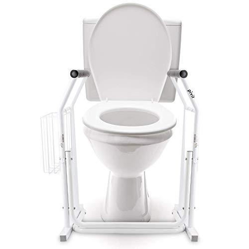 Pivit Stand Alone Toilet Safety Rails | Medical Bathroom Assist Frame with Support Grab Bars Handles & Railings for Elderly, Senior, Handicap & Disabled | Freestanding Commode Handrails