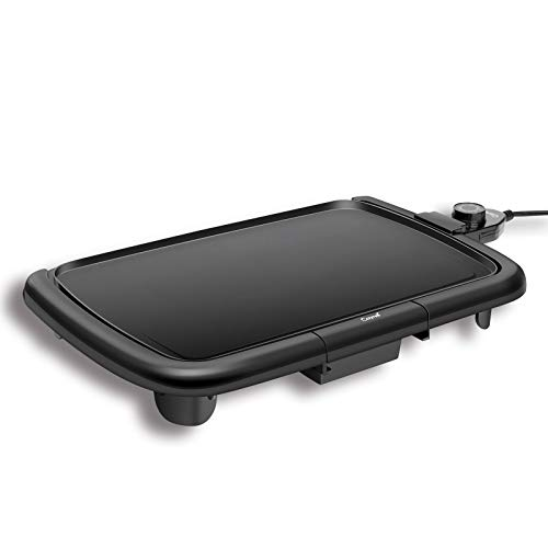 """Caynel Professional Electric Griddle, Cool-Touch Griddle, Smoke-less Non-Stick Coating with Removable Drip Tray and Cool-touch Handles, Compact Storage, Upgrade Thermostat for Indoor/Outdoor, Fully immersible Easy Cleaning, 16""""x10"""" Family-Sized, Copper (B"""