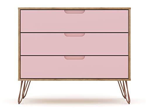 "Manhattan Comfort Rockefeller Mid-Century Modern 3 Drawer Bedroom Dresser, 35.24"", Nature/Rose Pink"