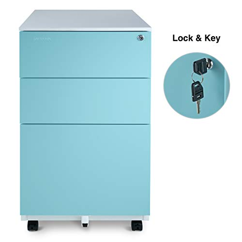 Aurora Mobile File Cabinet 3-Drawer Metal with Lock Key Sliding Drawer, White/Aqua Blue, Fully Assembled, Ready to Use