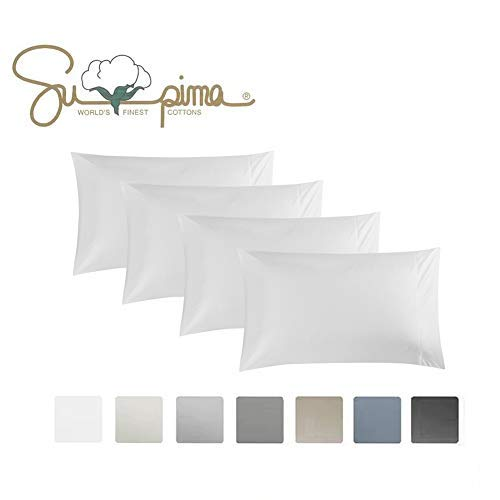 ELINEN King Pillowcase Set of 4, Luxury Hotel Pillow Cases, 100% Supima Cotton 600 Thread Count, Sateen Weave, Premium Quality King Pillowcase 4 Pieces (White, King4 pcs)