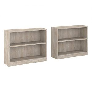 Bush Furniture Universal 2 Shelf Bookcase Set of 2, Washed Gray