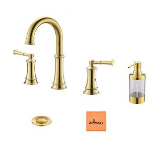 3-Hole Gold Bathroom Sink Faucet Widespread, Solid Brass 2 Handles Vanity Lavatory Vessel Faucets with Pop Up Drain Assembly and Soap Dispenser, APPASO