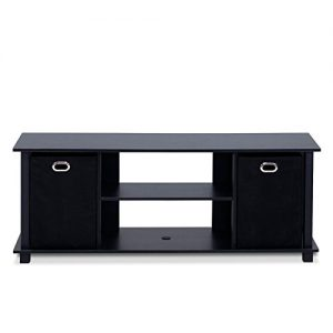 Furinno Econ Entertainment Center, Black/Black