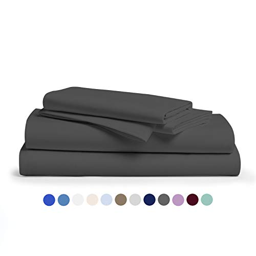 Comfy Sheets 100% Egyptian Cotton Sheets - 1000 Thread Count 4 Pc California King Dark Grey Bed Sheet with Pillowcases, Hotel Quality Fits Mattress Up to 18'' Deep Pocket.