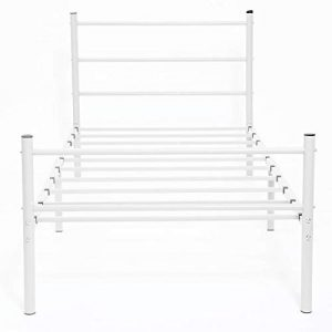 GreenForest Bed Frame Twin with Heavy Duty Square Slats Mattress Foundation Platform Bed Base for Boys Girls Kids Adult Bedroom, No Box Spring Needed, White