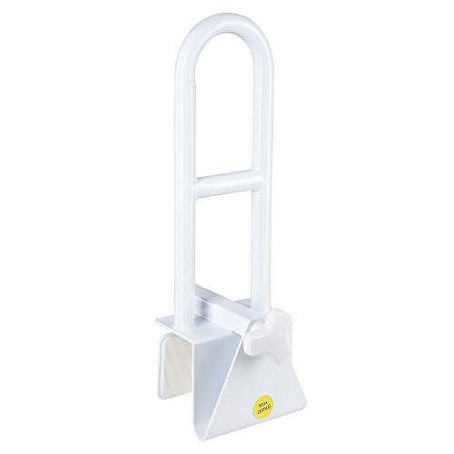 AW Bathtub Grab Bar Safety Rail Adjustable Lock to Tub Side Clamp On Handle 440lbs Support for Elderly Handicap