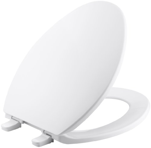 Kohler K-4774-0 Brevia Elongated White Toilet Seatwith Quick-Release Hinges And Quick-Attach Hardware For Easy Clean