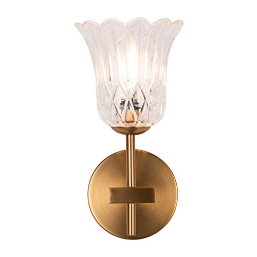 YIFI Classic Flower Glass Shade Wall Lights Fixture, Gold Bathroom Vanity Wall Lamp, G9 1-Light Wall Sconces for Bedroom Living Room Dining Room Foyers Kitchen, UL Listed Wires