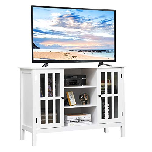 """Tangkula Wood TV Stand, Classic Design Storage Console Free Standing Cabinet for TV up to 45"""", TV Cabinet Media Center Home Living Room Furniture, TV Stand Media Cabinet (White)"""