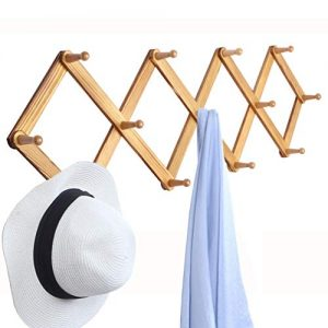 "OROPY Wooden Expandable Coat Rack Hanger, Wall Mounted Accordion Pine Wood Hook for Hanging Hats, Caps, Mugs, Coats, Diamond Shap, 38.6""×15.6"", Natural Wood Color"