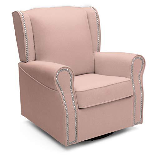 Delta Children Middleton Upholstered Glider Swivel Rocker Chair, Blush