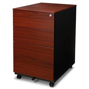 Aurora FC-103RT Modern Soho Design 3-Drawer Metal Mobile File Cabinet with Lock Key/Fully Assembled, Metallic Charcoal/Red Teak