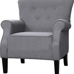 "LOKATSE HOME Modern Classic Accent Fabric Arm Chair, Linen Upholstered Single Sofa with Solid Wood Legs for Living Room, Bedroom, Club, 29.3""x28.7""x39.6"", Grey"
