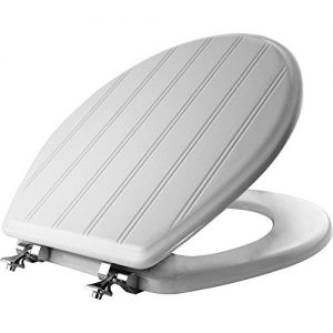MAYFAIR 29CPA 000 Beadboard Toilet Seat with Chrome Hinges will Never Loosen, ROUND, Durable Enameled Wood, White