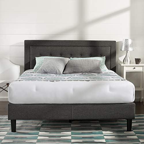 Zinus Dachelle Upholstered Tufted Premium Platform Bed, King, Dark Grey