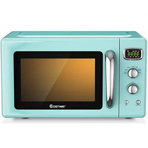 COSTWAY Retro Countertop Microwave Oven, 0.9Cu.ft, 900W Microwave Oven, with 5 Micro Power, Defrost & Auto Cooking Function, LED Display, Glass Turntable and Viewing Window, Child Lock, ETL Certification (Green)