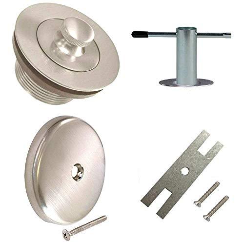 Wood Grip Universal Conversion Kit Bathtub Tub Drain Assembly, All Brass Construction Plus Removal Tool