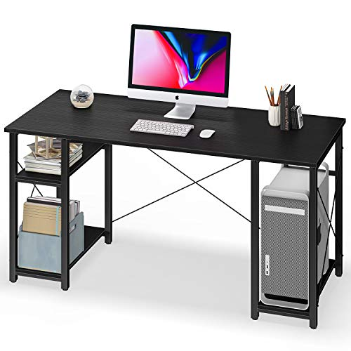 """Coleshome Computer Desk with Shelves,55"""" Modern Sturdy Writing Desk for Home Office,Office Desk with 3 Storage Shelves,Black"""
